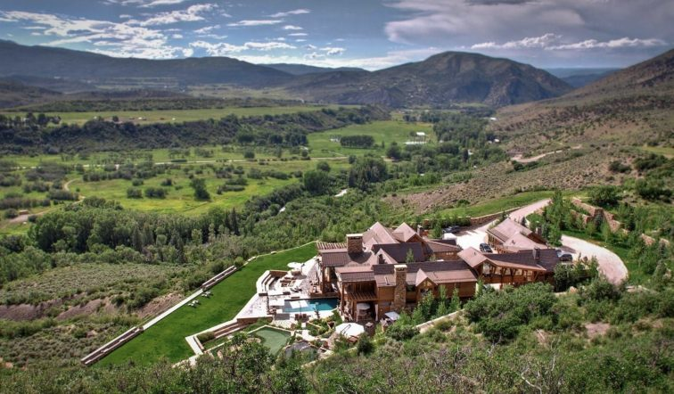 Aerial view of Four Peaks Ranch in Snowmass, Colorado.