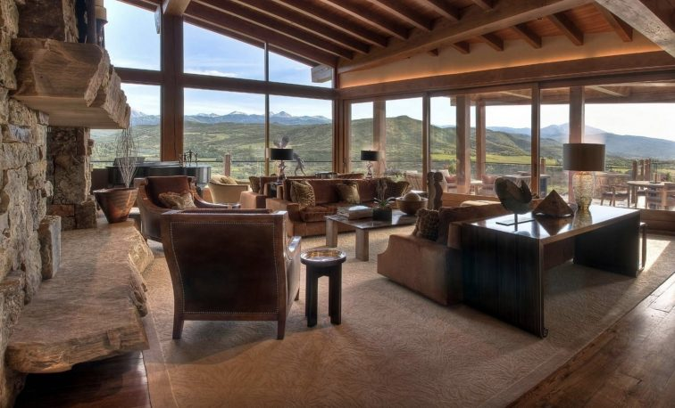 Living room of Four Peaks Ranch in Snowmass, Colorado.