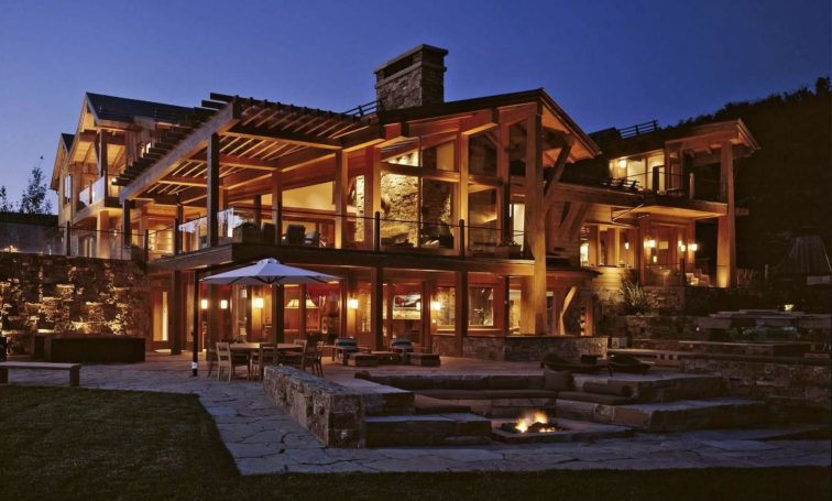 Night view of Four Peaks Ranch in Snowmass, Colorado.