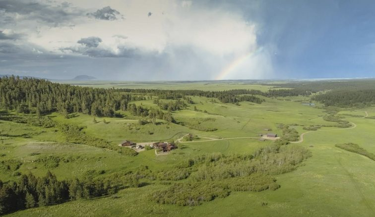 Aerial view of Horsethief Basin Ranch.