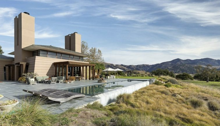 Exterior view of luxury ranch and pool in Los Olivos, California.