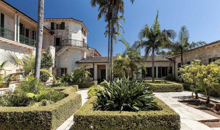Inner courtyard of luxury ranch in California.