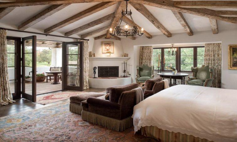 Master bedroom of luxury ranch in Rancho Santa Fe, California.
