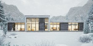 contemporary luxury home in winter