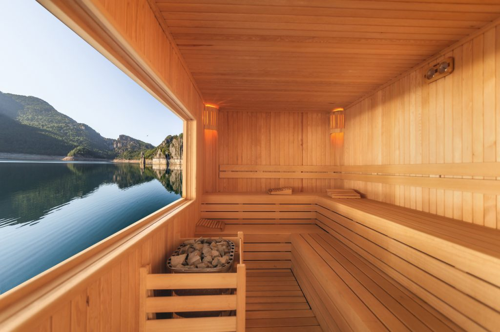 sauna on lake