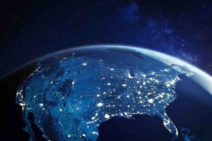 """Night time picture of the US taken from space with lights from """"powerhouse cities"""""""