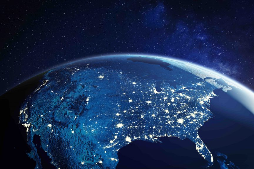 "Night time picture of the US taken from space with lights from ""powerhouse cities"""