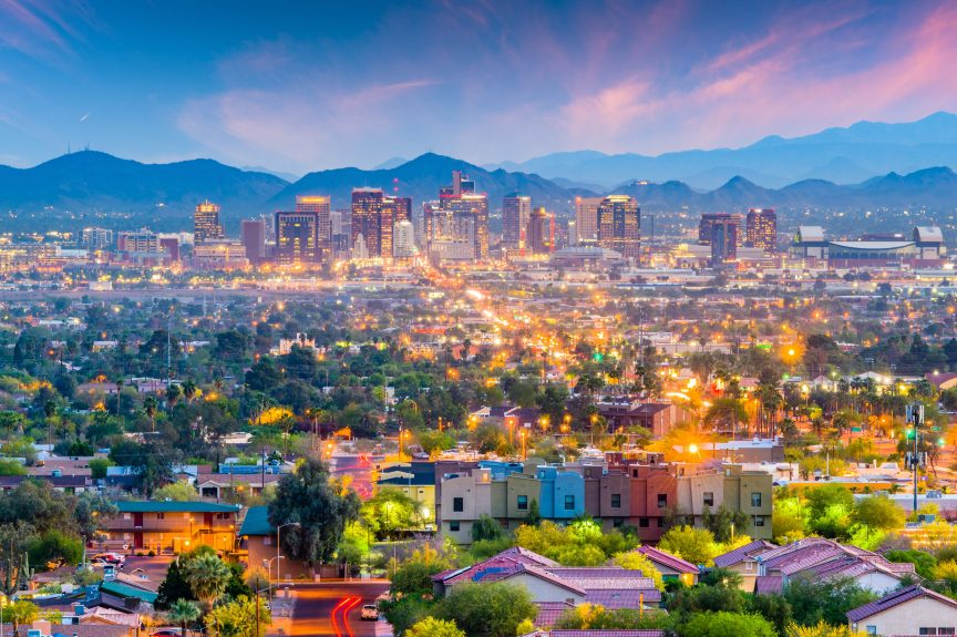 The Phoenix, AZ skyline at evening