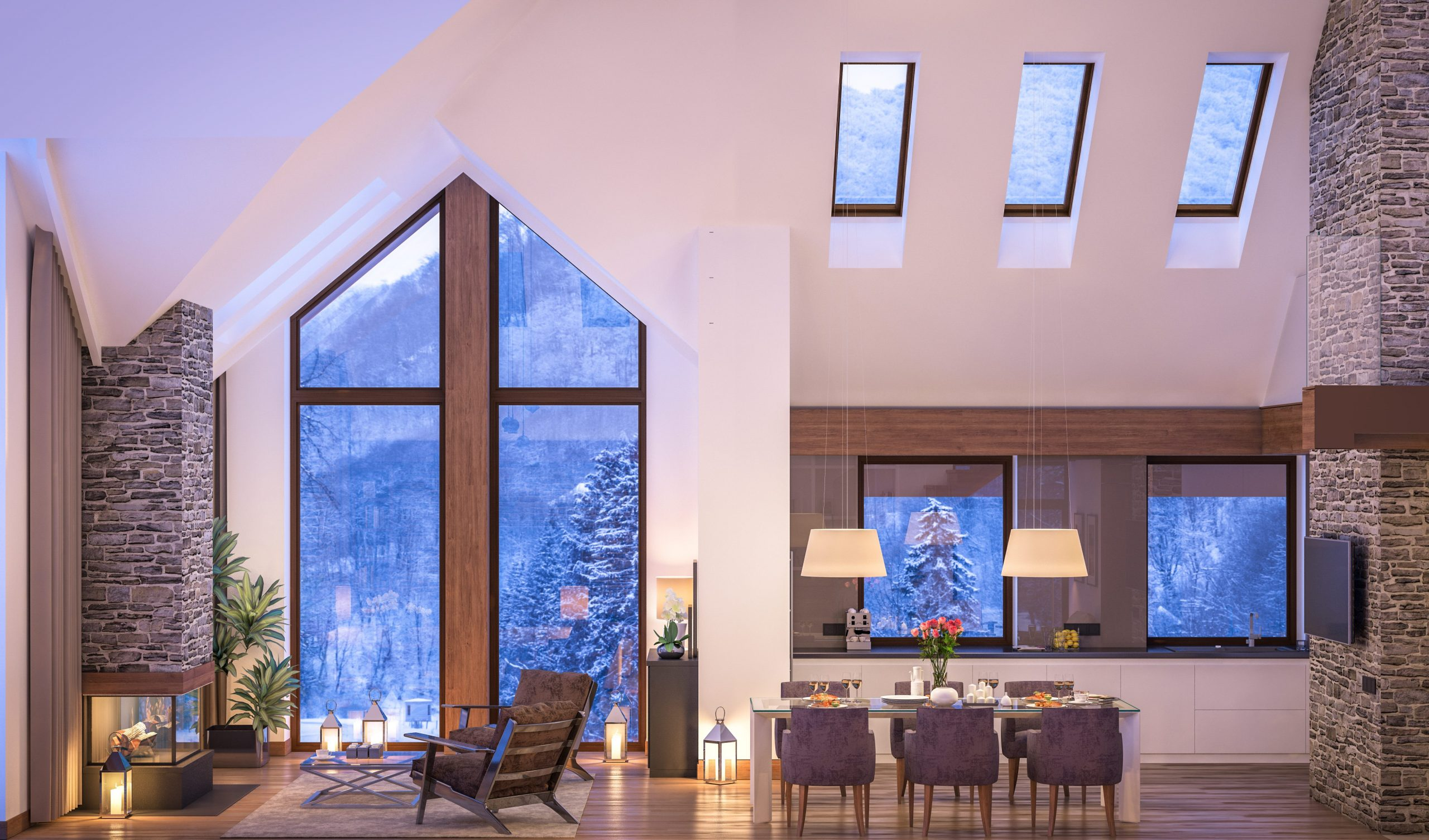 The interior of a luxury home on a snowy mountain