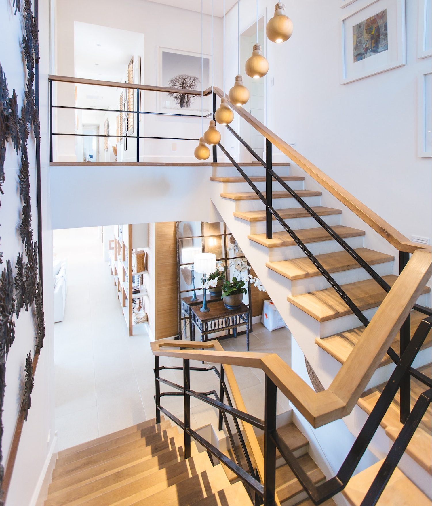 the interior staircase of a contemporary luxury home