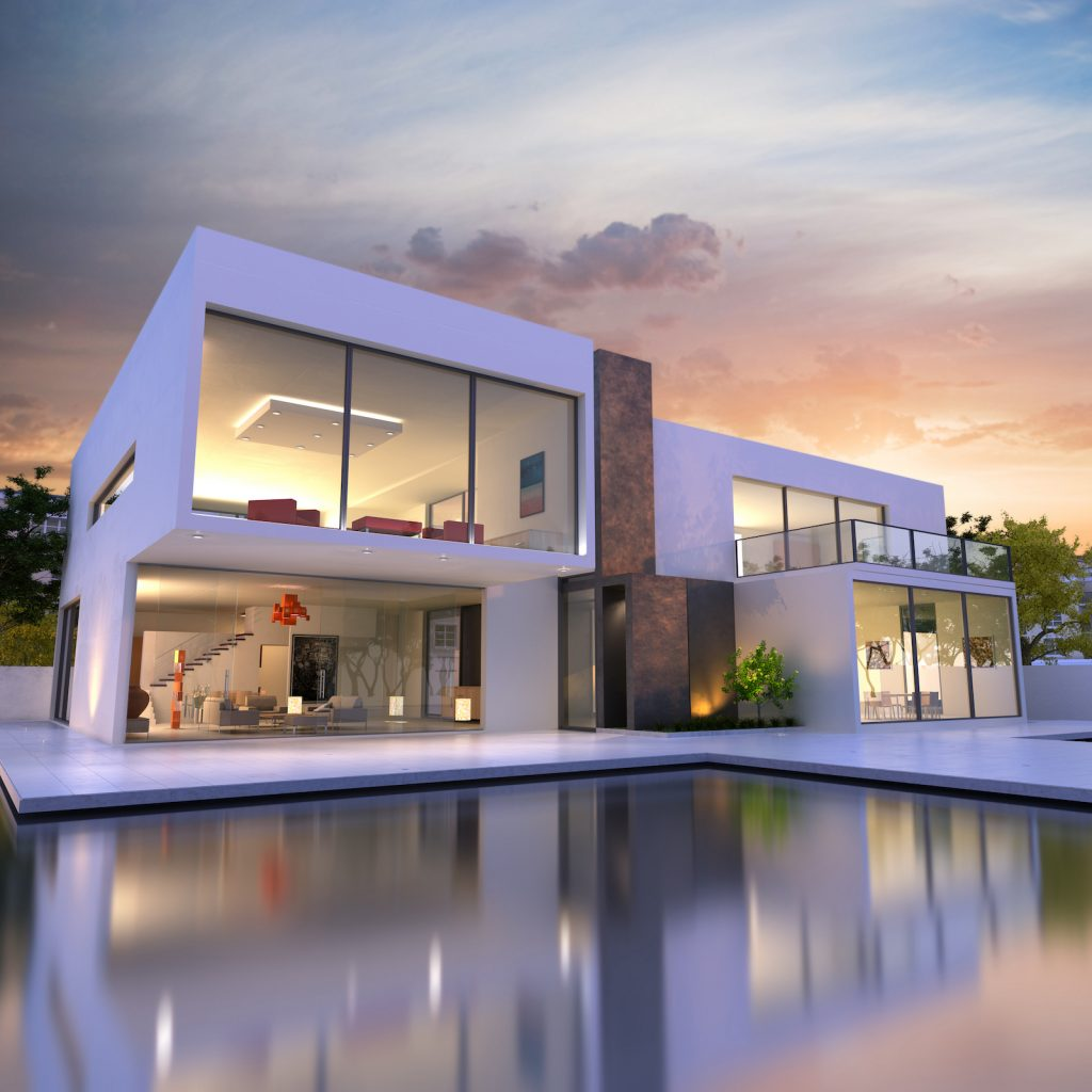 a contemporary home with a large modern swimming pool at dusk