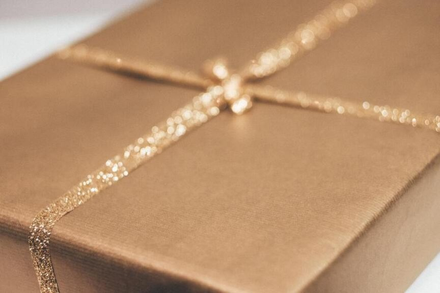 gift in gold wrapping paper